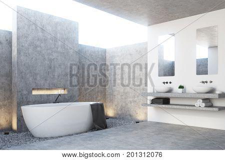 Gray Bathroom Interior, Corner