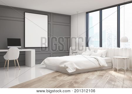 White Bedroom Interior With A Computer, Corner