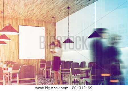 Cafe with a wooden wall and ceiling a vertical framed poster on a wall wooden tables with gray chairs. Side people. A white and wooden bar stand. 3d rendering mock up toned image double exposure