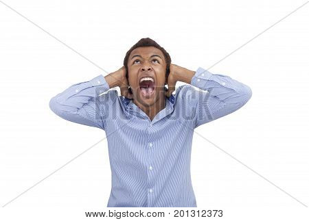 Isolated portrait of a young African American businessman covering his ears and shouting in terror. Concept of strong emotions