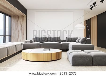 White And Wooden Living Room Interior