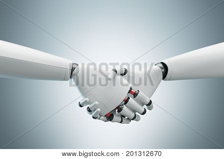 Two White Robots Shaking Hands, Gray