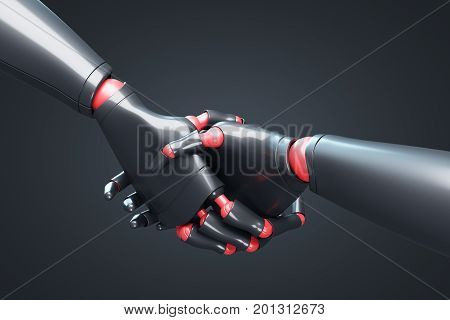 Two Black Robots Shaking Hands, Black Closeup