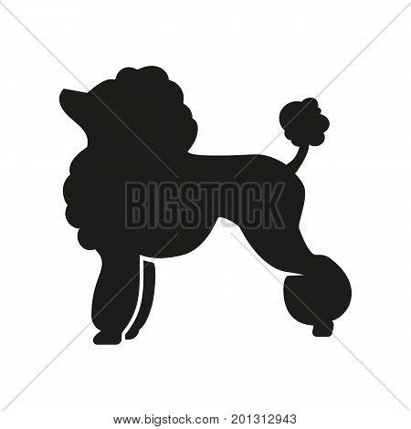 Icon of dog silhouette. Companion, pet, purebred. Domestic animal concept. Can be used for topics like veterinary, breeding, pedigree