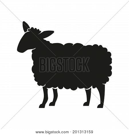 Icon of sheep silhouette. Mammal, livestock, zoology. Domestic animal concept. Can be used for topics like astrology, farm, veterinary