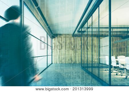 Company lobby interior with wooden and glass walls and conference rooms with white chairs and tables. Businessman 3d rendering mock up toned image double exposure