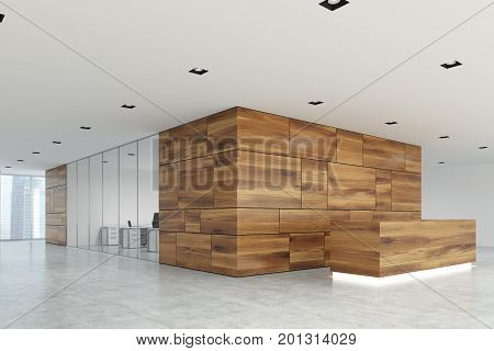 Wooden And Glass Reception Lobby Side