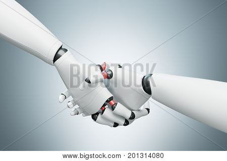Two White Robots Shaking Hands, Gray Close Up