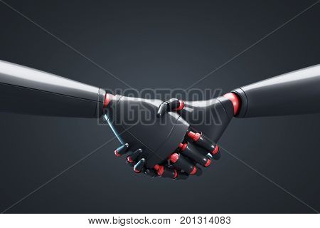Two Black Robots Shaking Hands, Black