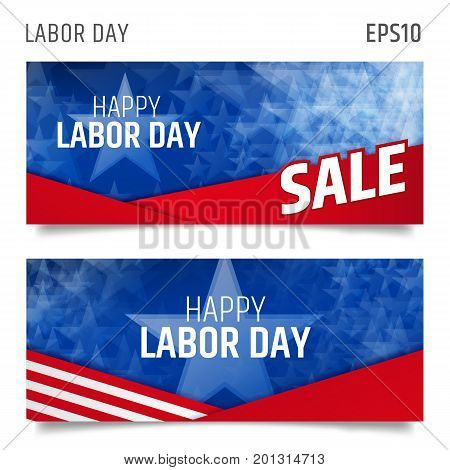 Labor day horizontal banners. Labor day sale promotion advertising banner template. Vector illustration. American card background.