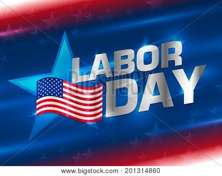 Labor day sale promotion advertising banner template decor with American flag.abstract background. Vector illustration.