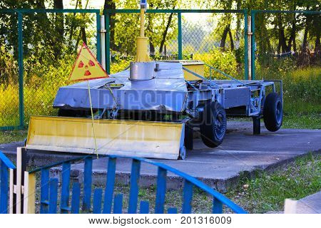 An exhibition of Soviet robots that dealt with the rubble after the accident at the Chernobyl nuclear power plant. Consequences of the Chernobyl nuclear disaster August 2017.