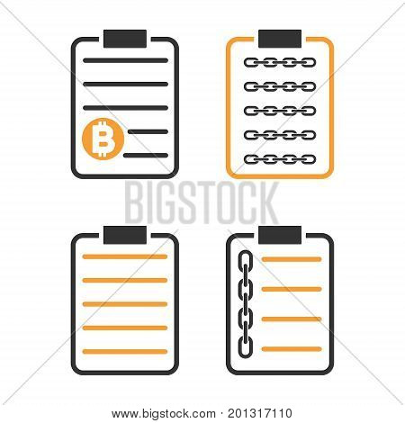 Blockchain Smart Contract vector icon set. Style is bicolor flat symbols.