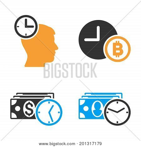 Credit Time vector icon set. Style is bicolor flat symbols.