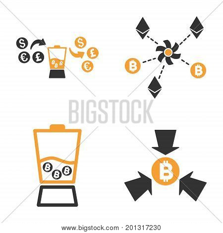 Cryptocurrency Anonymizer Mixer vector icon set. Style is bicolor flat symbols.