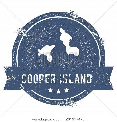 Cooper Island Logo Sign. Travel Rubber Stamp With The Name And Map Of Island, Vector Illustration. C