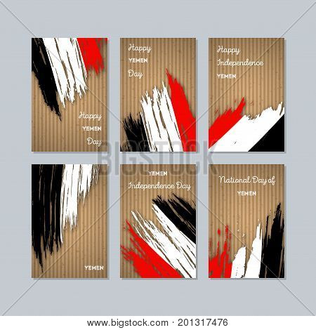 Yemen Patriotic Cards For National Day. Expressive Brush Stroke In National Flag Colors On Kraft Pap