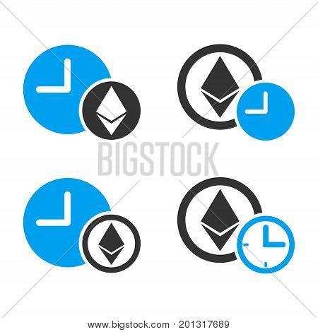 Ethereum Credit vector icon set. Style is bicolor flat symbols.