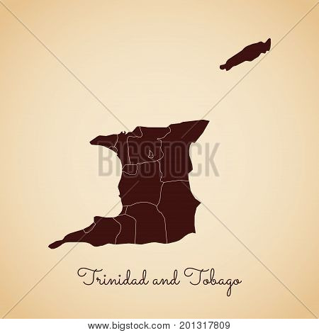 Trinidad And Tobago Region Map: Retro Style Brown Outline On Old Paper Background. Detailed Map Of T