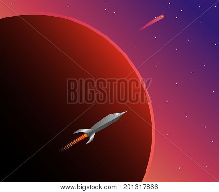 Wonderful space, red planet and space ship. Colorful sci-fi background. Vector illustration