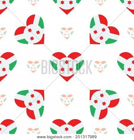 Burundi Flag Heart Seamless Pattern. Patriotic Burundi Flag Background. Country Flag In The Shape Of