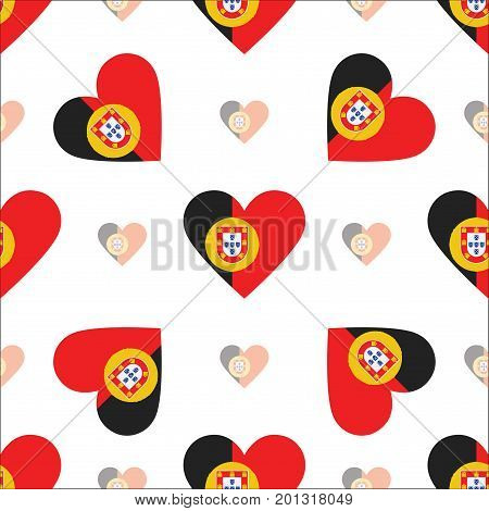 Portugal Flag Heart Seamless Pattern. Patriotic Portugal Flag Background. Country Flag In The Shape