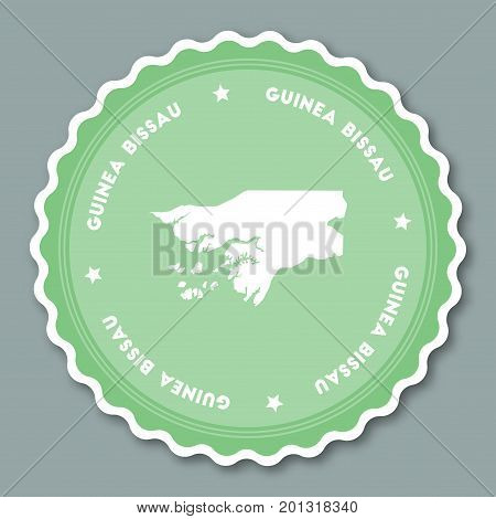 Guinea-bissau Sticker Flat Design. Round Flat Style Badges Of Trendy Colors With Country Map And Nam
