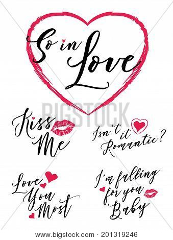 So in Love Vector Typography Romance Lettering Set with 5 designs including Kiss Me, Love You Most, So in Love, I'm Falling for you Baby, and Isn't it Romantic heart and lips illustration