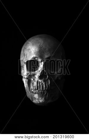 Halloween Skull. Spooky Halloween Skull isolated on black. Scary Halloween with room for text. Human Skull. Human Head