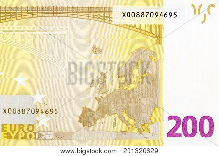 Part of 200 euro bill on macro. Hi res photo.