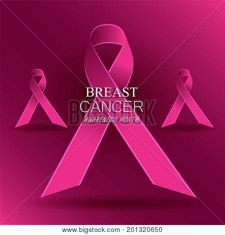 Breast cancer awareness pink ribbons. Vector illustration.