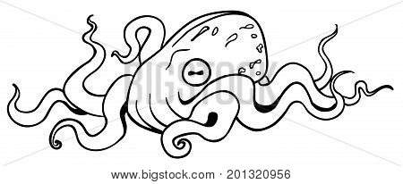 Octopus resting cartoon line drawing, horizontal, vector illustration, isolated