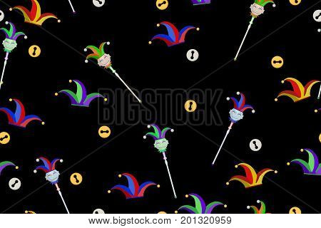 Colorful jester hat and stick, seamless vector texture pattern, horizontal, over white
