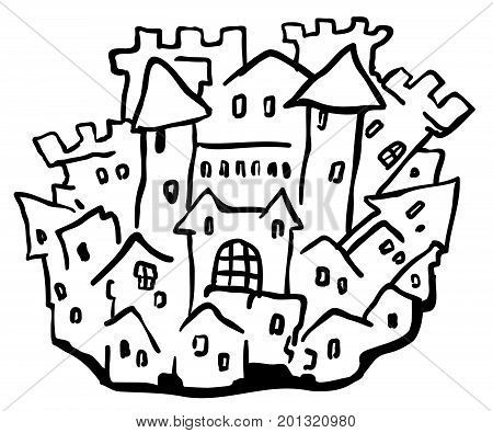 Small castle town cartoon line drawing, horizontal, vector illustration, isolated