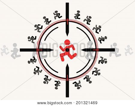 Sniper aim target with people figures vector illustration color cartoon horizontal