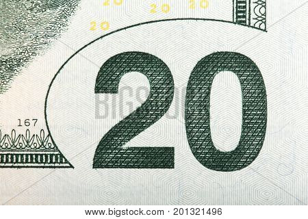 Macro of the value on a U.S. 20 bill, extreme macro. High resolution photo.