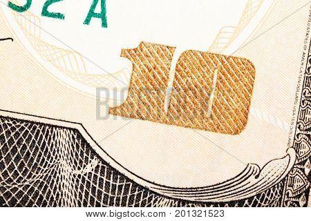 Detail shot of a ten dollar bill. High resolution photo.