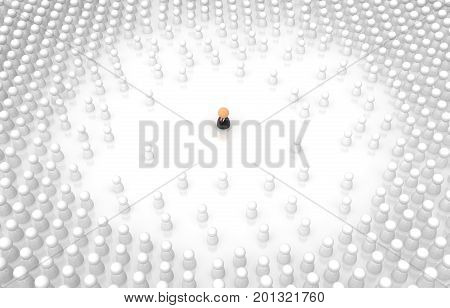 Crowd of small symbolic figures single one business suit 3d illustration horizontal isolated over white