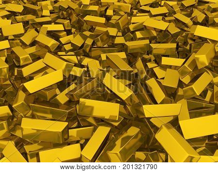Golden bars many stored scattered 3d illustration horizontal background