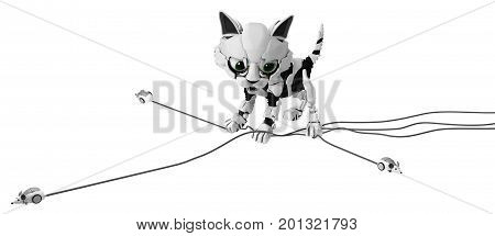 Robotic kitten with computer mice catching several simultaneously 3d illustration horizontal isolated