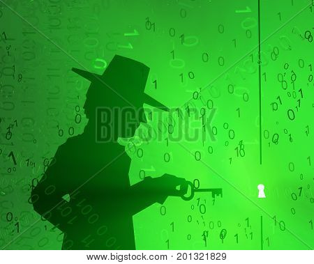 Virtual digits abstract 3d illustration shadow figure with key horizontal