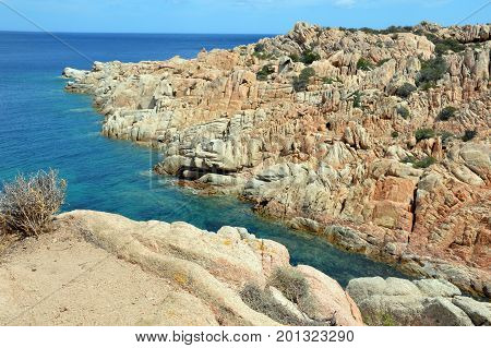 Terrestrial paradise in the Mediterranean. Archipelago of Maddalena, Caprera Island. Corner of the picturesque paradise in the Mediterranean Sea, natural park and pristine with lovely beaches, clear and blue sea with special rocks and mountains