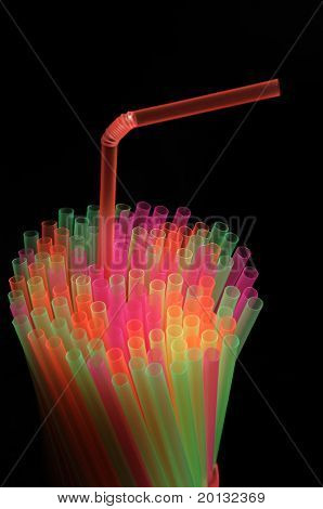 Many color tubules for cocktail close up
