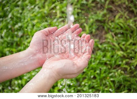 Water pouring in hands on nature green grass background.
