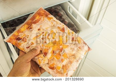 Hide food in deep freeze, get food from deep freeze, view through open door deep freeze