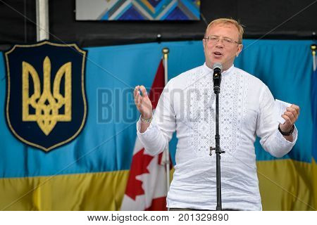 August 19 2017. Toronto Canada - Andriy Shevchenko Ambassador Embassy of Ukraine in Canada duirng the Largest Ukrainian diaspora celebration of 26 Ukrainian Independence Day at Centennial Park in Toronto ON Canada