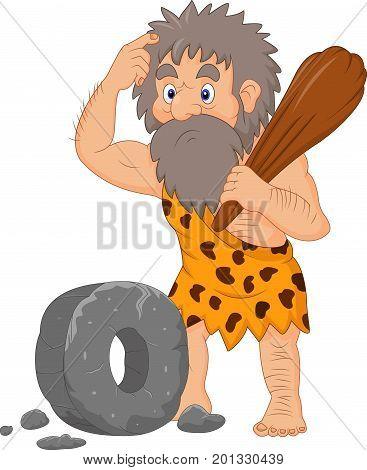 Vector illustration of Cartoon caveman with stone wheel