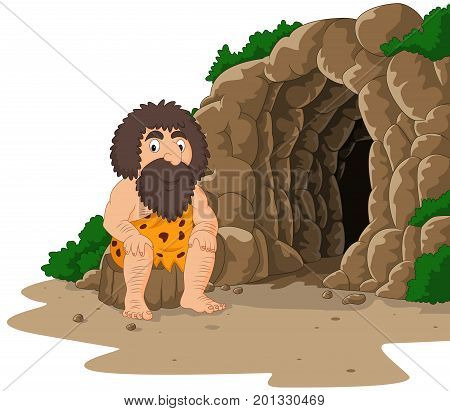 Vector illustration of Cartoon caveman sitting with cave background