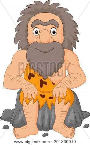 Vector illustration of Cartoon happy caveman sitting