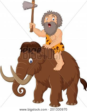 Vector illustration of Caveman riding a mammoth